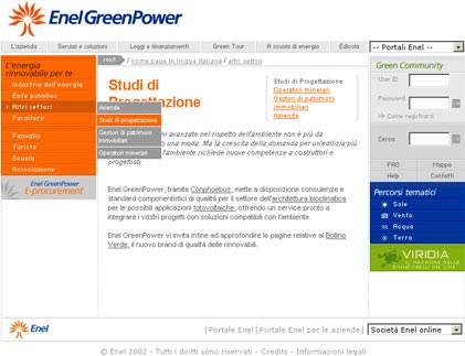 Homepage del sottosito GreenPower