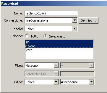 Impostazione della query per il recordset