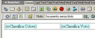 Associazione dei campi del recordset rsClassifica