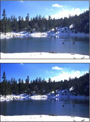 Immagine con effetto interlacciato confrontata ad un'immagine semplice