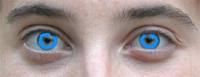 Disegno di linee blu sugli occhi