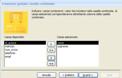 Scegliere i campi da mostrare nel menu a discesa