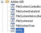 Screenshot della lista dei componenti AIR