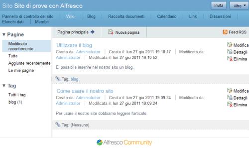 Pagina Wiki di Alfresco