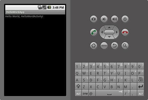 Un'app 'Hello World!' in esecuzione sull'emulatore Android