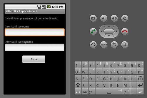 Figura 15: Interfaccia con moduli e il bottone di invio