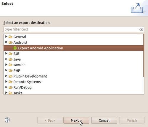 Figura 23: Esportare un'app Android