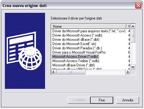 Creazione origine dati