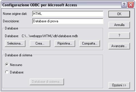 Configurazione ODBC