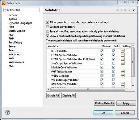 Figura 31: Configurazione del validatore