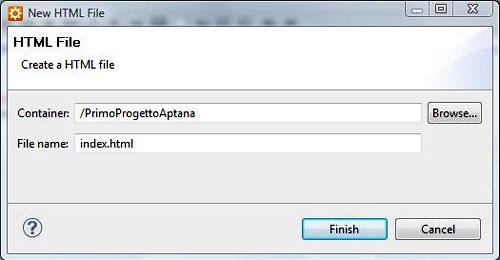 Figura 6: Includere un file HTML nel progetto