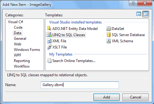 Creazione di una nuova entity LINQ To SQL