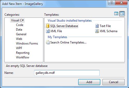 Creazione di un nuovo database SQL Server 2005