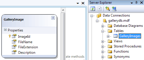 Risulato della creazione della classe LINQ To SQL
