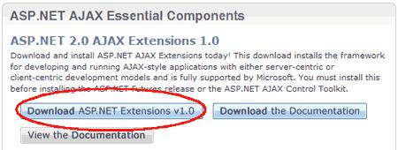 Scaricare le estensioni ASP.NET AJAX