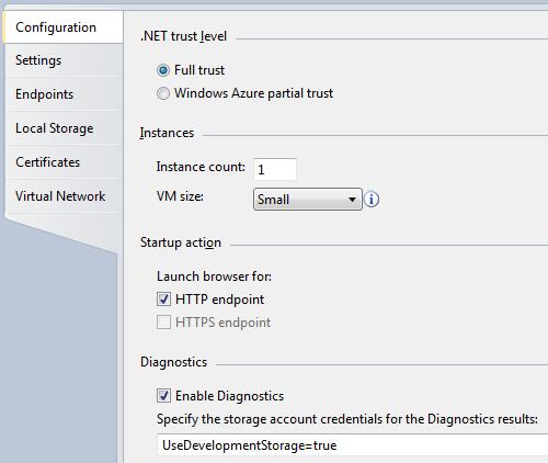 Impostazioni progetto Windows Azure