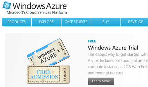 Home page di Windows Azure