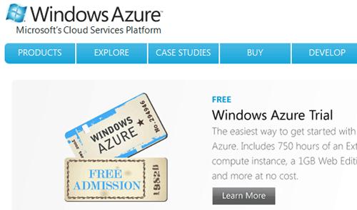 Home page di Windows Azure