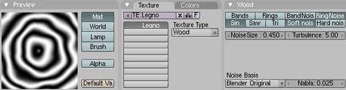 Pannello di impostazione della texture