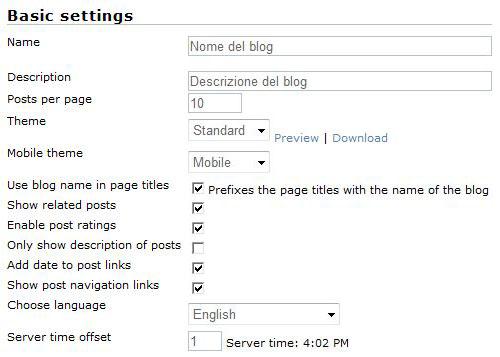 Impostazioni di base (basic settings)