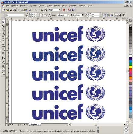 Cinque marchi UNICEF acquisiti a risoluzioni differenti