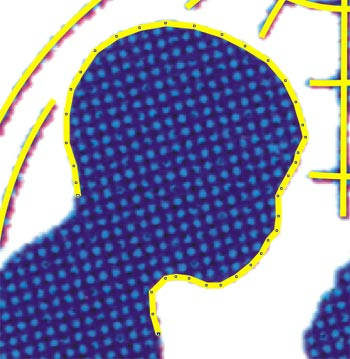 Una serie di nodi ravvicinati descrivono il profilo stilizzato della testa del bambino