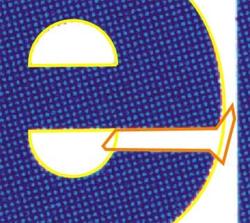 In arancione la figura da saldare al semicerchio nell'incavo della 'E'