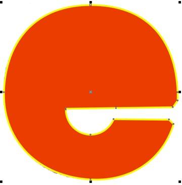 L'attribuzione di un riempimento provvisorio mostra che l'occhiello non è unito al resto della 'E'