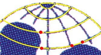 I pallini rossi rappresentano i punti in cui vanno creati quattro nuovi nodi