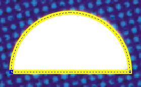 Il semicerchio risultante dal trascinamento compiuto all'interno del perimetro del cerchio originale