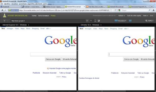 Anteprima della schermata su Adobe Browser Lab