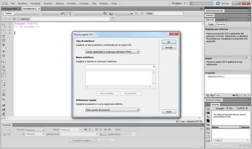 La schermata di creazione di un nuovo elemento CSS.