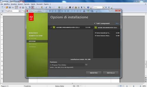 Opzioni di installazione di Dreamweaver.