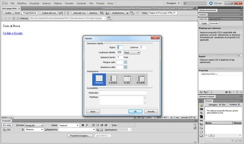 Creazione di una tabella tramite l'interfaccia.