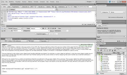 La schermata dei riferimenti.