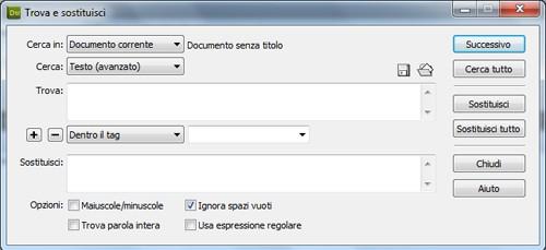 La schermata di ricerca di testo dentro un tag preciso.