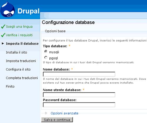 Maschera di configurazione del database