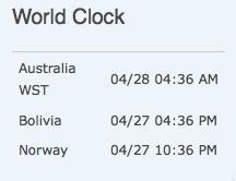 World Clock è abilitato