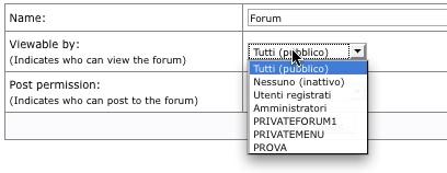e107 definiamo gruppo che può accedere al forum