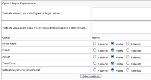 opzioni Pagina Registrazione