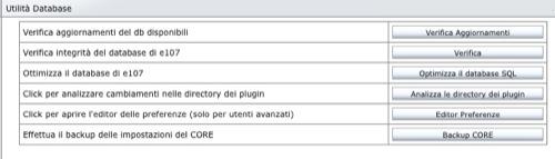 e107 utilità database