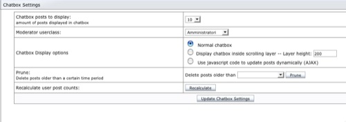 e107 chatbox settings