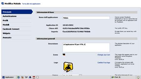 La pagina per creare un'applicazione Facebook