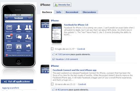 L'applicazione iPhone per Facebook