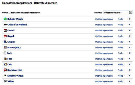 L'elenco delle applicazioni installate