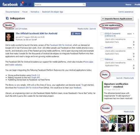 Figura 5: La pagina dell'applicazione per svilupatori di Facebook
