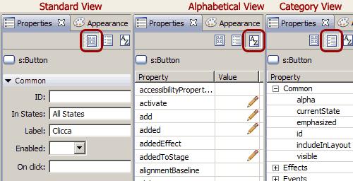 Tipi di visualizzazione delle proprietà