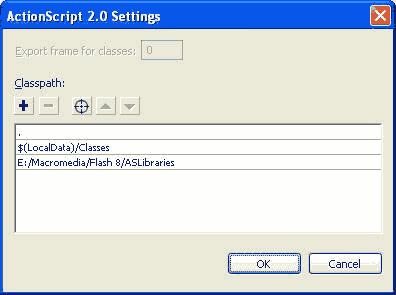 La finestra di dialogo Impostazioni Actionscript 2.0