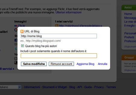 Aggiungere un blog esterno