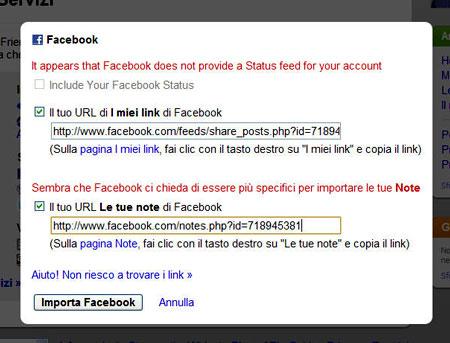 La finestra per i link di Facebook